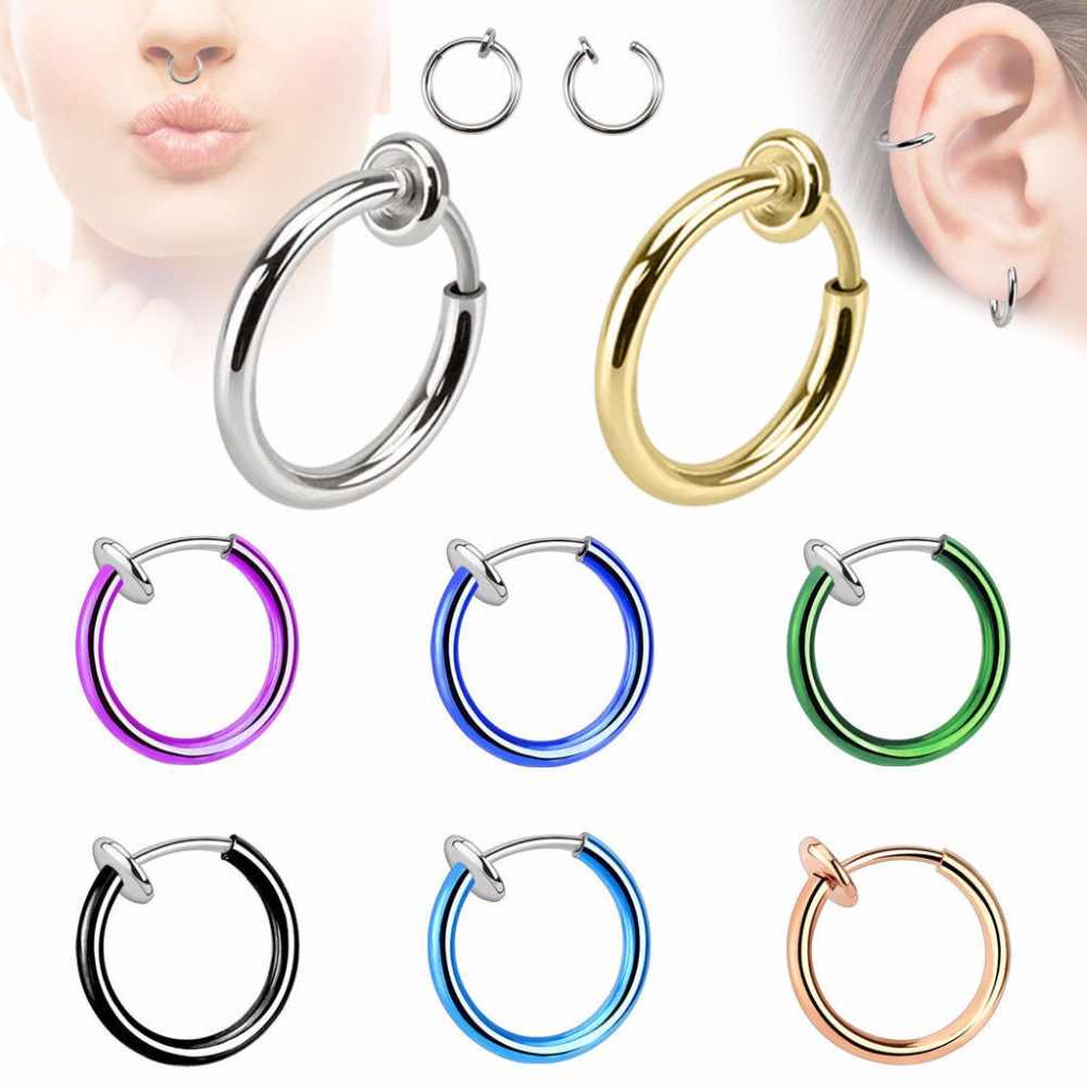 Earcuff Limited Promotion Oorbellen 14 Colors 2pcs Goth Punk Nose Clip Fake Septum Piercing Body Lip Hoop Ear Tongue Earrings