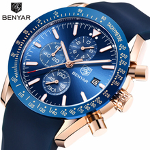 BENYAR Brand Chronograph Watch Men Silicone Strap Sports Watches for 2018 Fashion Quartz Relogio Masculino Reloj