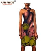 2018 summer choker dress for women AFRIPRIDE african print sleeveless above knee length casual women strapless dress A1825067