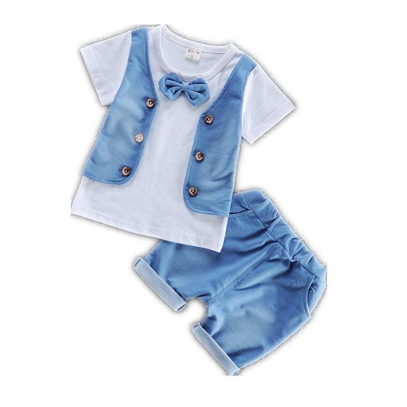 Summer Children Boys Girls Garment Fashion 2018 Baby Short Sleeve T-shirt Shorts 2 Pcs/sets Kid Pure Cotton Bowknot Clothes Sets family fashion summer tops 2015 clothers short sleeve t shirt stripe navy style shirt clothes for mother dad and children