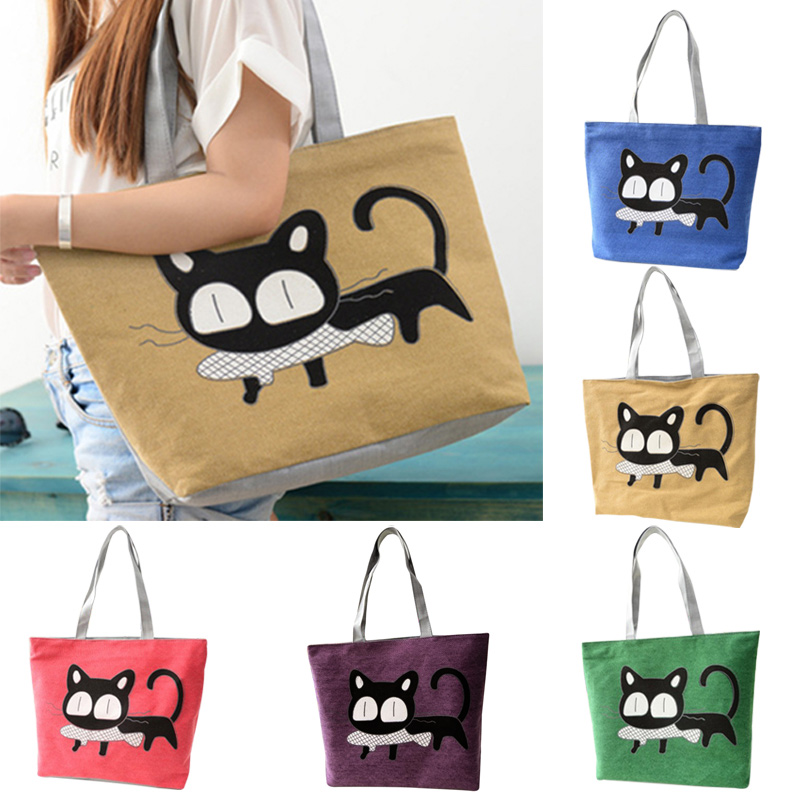 Lovely Cat Printed Women Bag Cat Eat Fish Pattern Print Lunch Bag Handbag Casual Shopping Shoulder Bag Bolsas Femininas  WML99 maidenform корректирующее белье maidenform модель 264979553