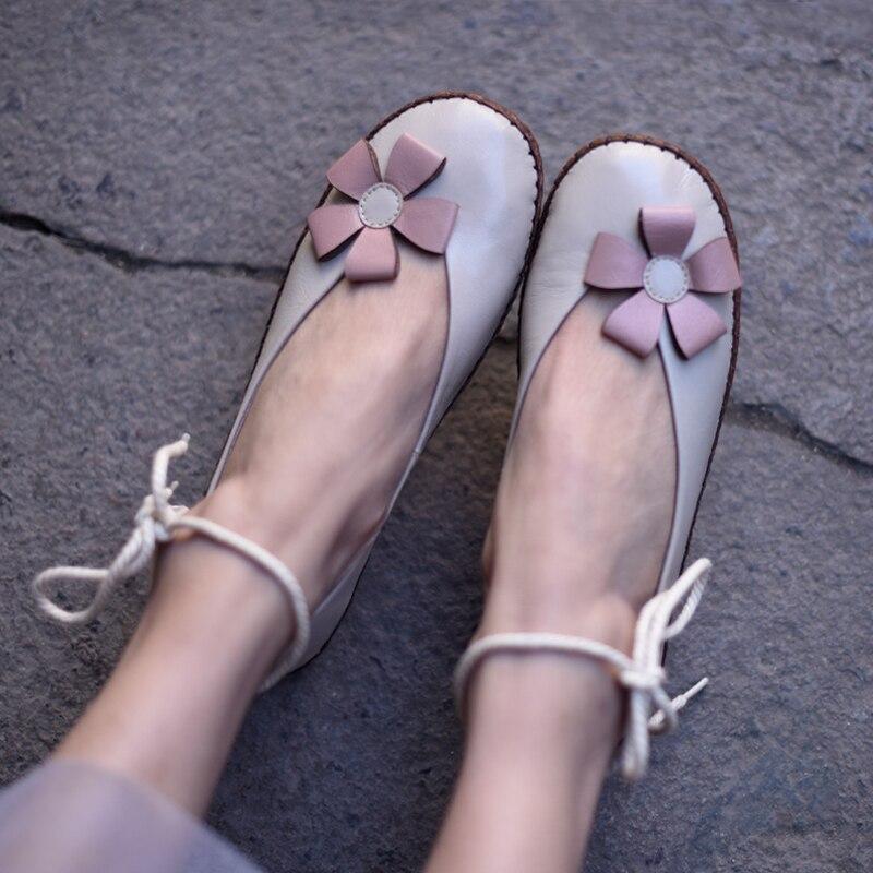 Handmade sapatos baixos mulher ballet flats mulheres sapatos de couro genuíno casuais cabeça redonda com tira no tornozelo sapatos femininos em preto e branco - 2