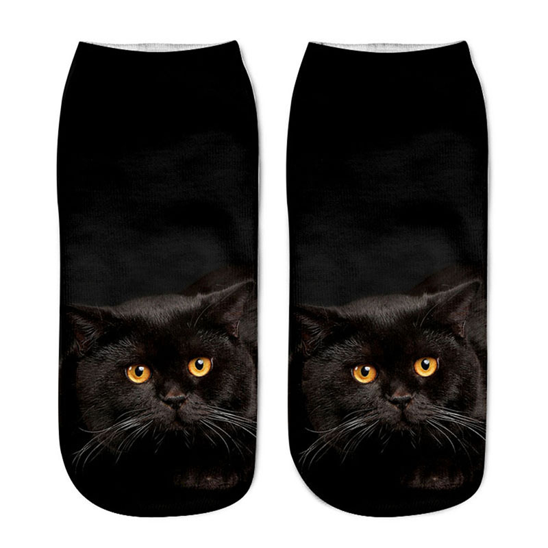 1 Pair Fashion Concise Style Cat Printed Ankle Crew Mens Cotton Boat Socks Low Cut Casual