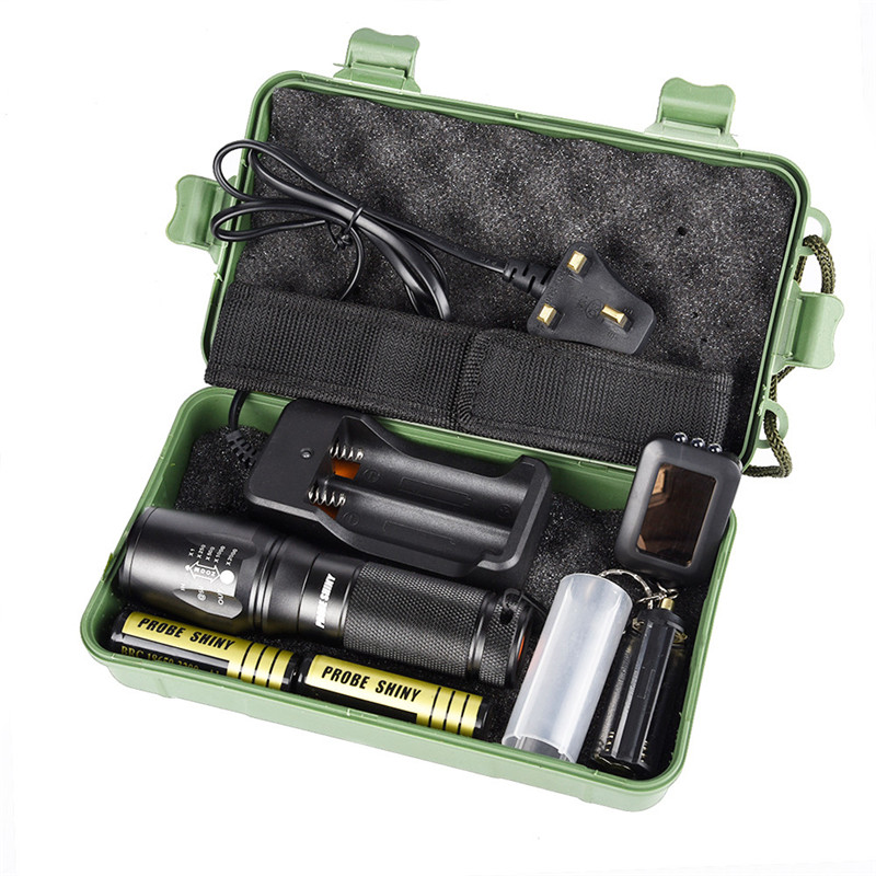 C2 Bicycle Light X800 Zoomable XML T6 LED Tactical Flashlight+18650 Battery+Charger+Case Set Kit Waterproof led cree xml t6 flashlight 6000lumens torch 5modes tactical flashlight zoomable flash light 18650 battery charger