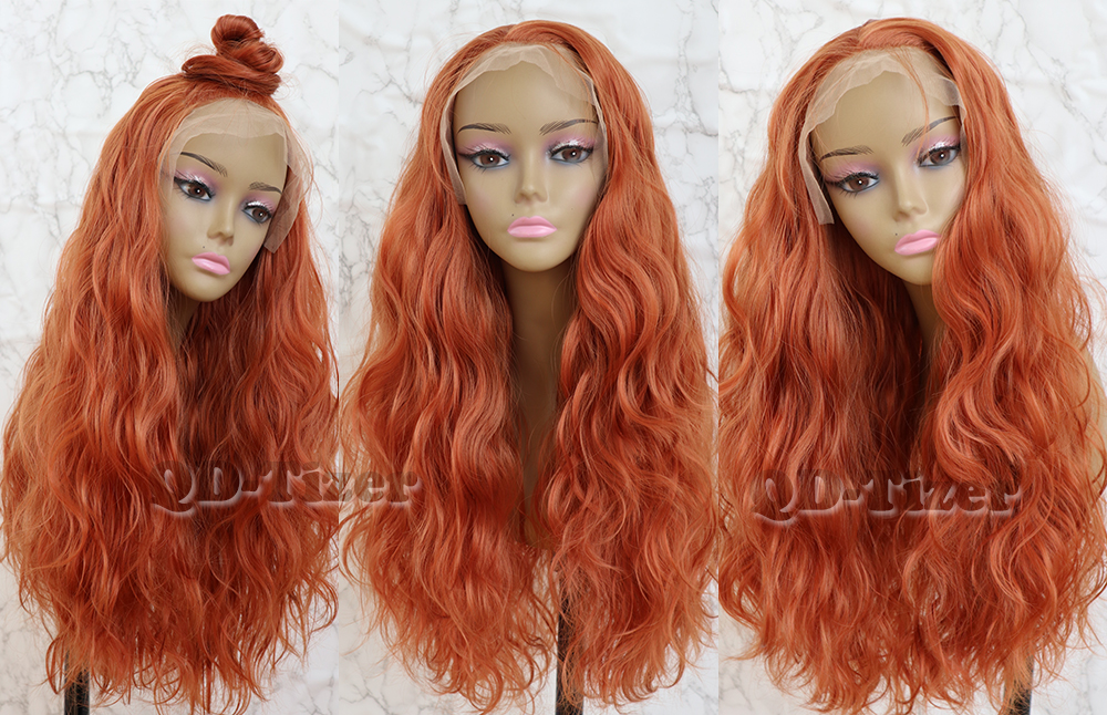 QD-Tizer Orange Color Loose Wave Hair Lace Wig with Baby Hair Glueless Free Part Synthetic Lace Front Wigs for Women