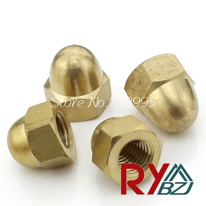 Brass Acorn Nut M4 M5 M6 M8 M10 M12 M14 M16 M20 Brass Dome Head Nut /Decorate nut / Protection Cover Nut DIN1587 цена в Москве и Питере