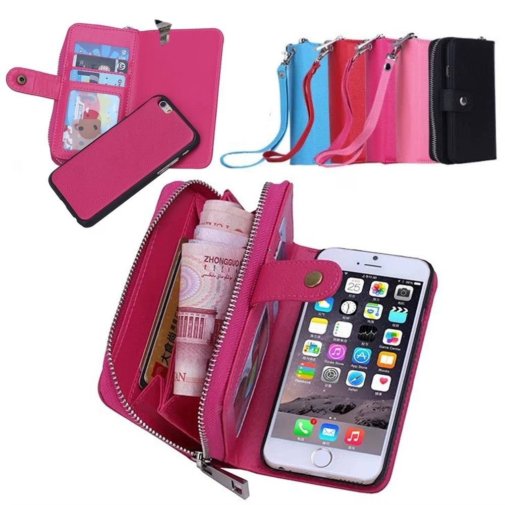 XINGDUO Magnetic 2 in 1 Leather Detachable Case For iPhone 5/5S/SE/5C Flip Cover Hybrid With Credit Card Sot and zip