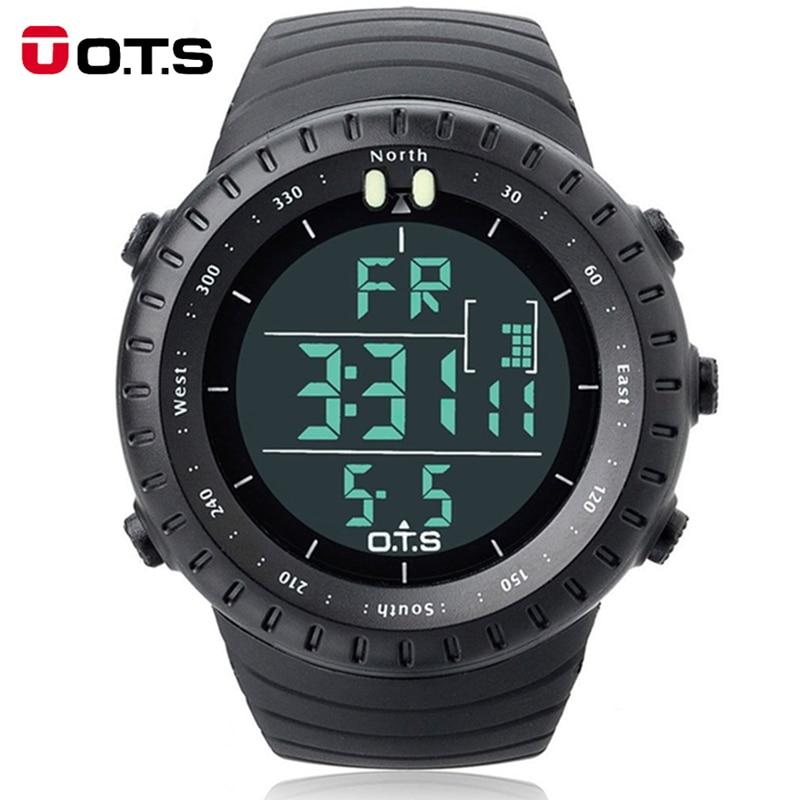 Uomini di modo di Marca OTS 7005G Shock Esterno Impermeabile Nuoto Sport a forma di Arco di Vetro Led Orologio Digitale Relogio Masculino
