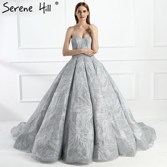 Grey Sliver Big Glitter Train Wedding Dresses Luxury Sparkly High ...