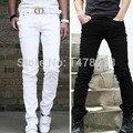 Los hombres Pantalones Casuales Pies Cultivar Pantalones Masculinos de Color Puro Negro/Blanco B2C