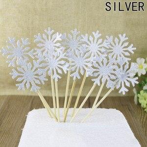 Image 5 - 10 stuk/zak Sneeuwvlok Cupcake Toppers Baby Meisje Bevroren Verjaardagsfeestje Decoraties Kids Kerst Taart Benodigdheden Accessoires