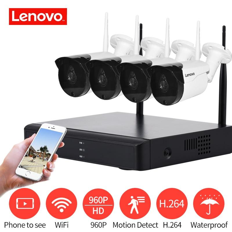 LENOVO 4CH Matriz HD Wi-fi Sem Fio Sistema de Câmera de Segurança Kit DVR CCTV 960 P WI-FI Ao Ar Livre de Vigilância NVR Full HD kit câmera de cctv