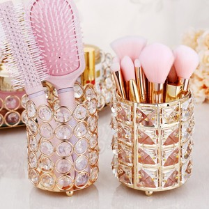 Image 4 - European Style Crystal Pencil Pen Holder Office Desk Cosmetic Makeup Brush Holder Eyebrow Eyeliner Container Gold Organizer