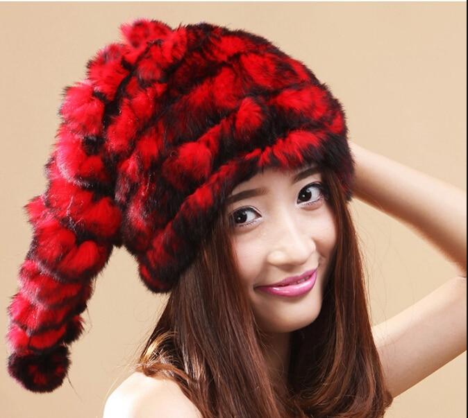 Women s cute rex rabbit fur Christmas Hat 2016 Winter Outdoor Warm Russian Women 100 Natural