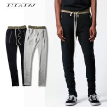 elastic high quality street fashion high street male tide jeans with the hole casual pants sweatpants jogger men