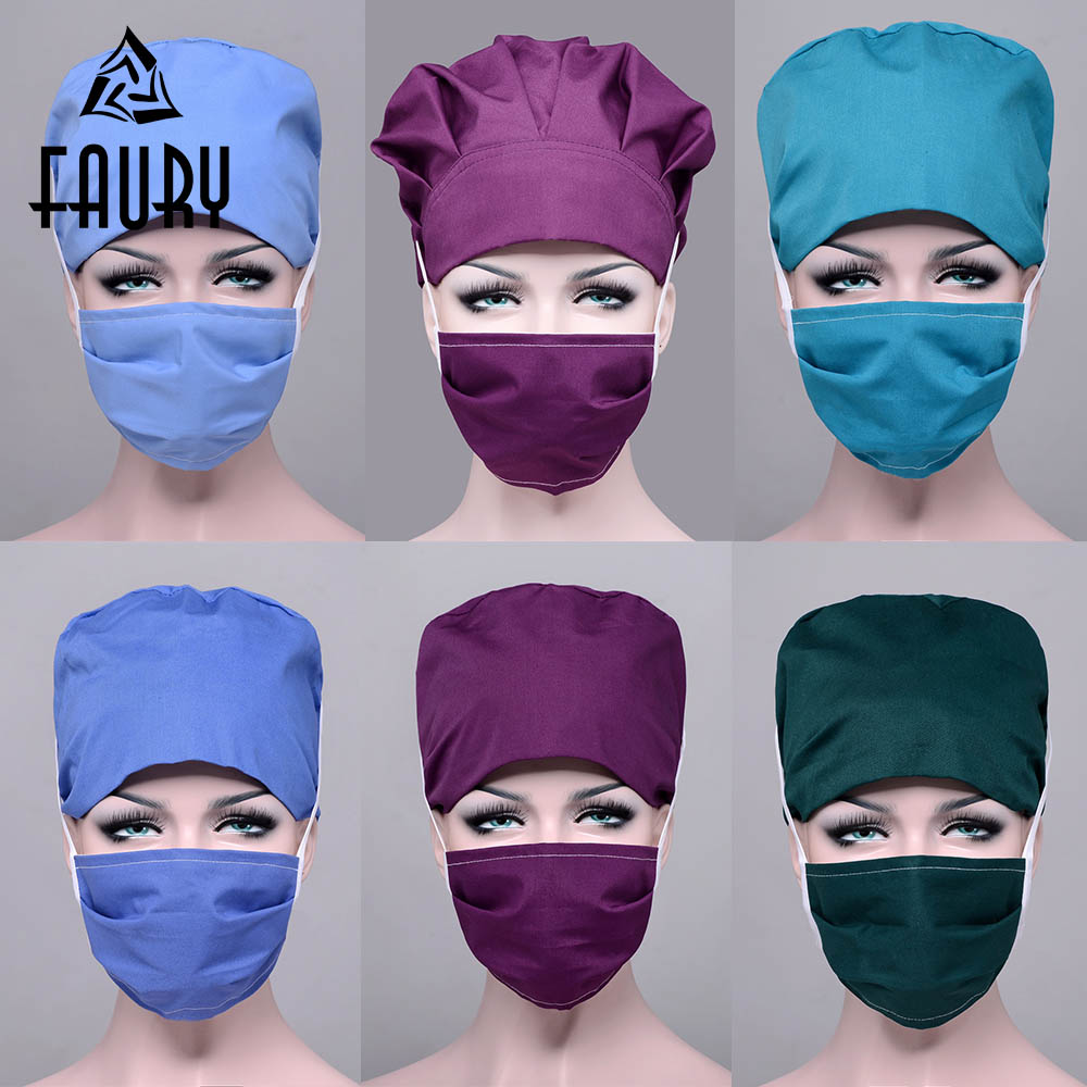 Unisex Hospital Medical Surgical Cap Medical Scrub Operation Gourd Caps Adjustable Lab Aseptic Work Clothes Accessories Mask Cap