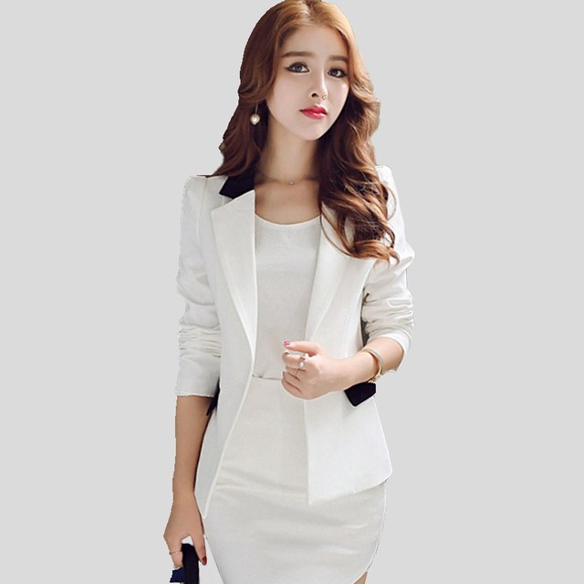 5792f64e8a Kostiumy damskie biznes czarny Biały marynarka casual dla kobiet żakiety i kurtki  2017 Szczupła biała z