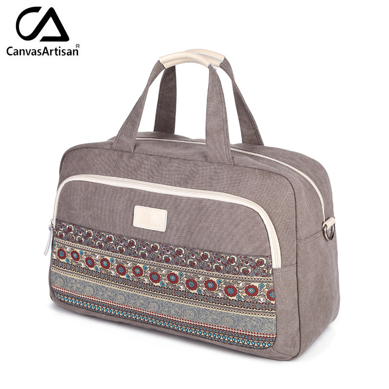 Us 27 56 21 Off Canvas Women Travel Bags Best Carry On Luggage Woman Duffel Tote Large Weekend Bag Overnight Printing Hand In