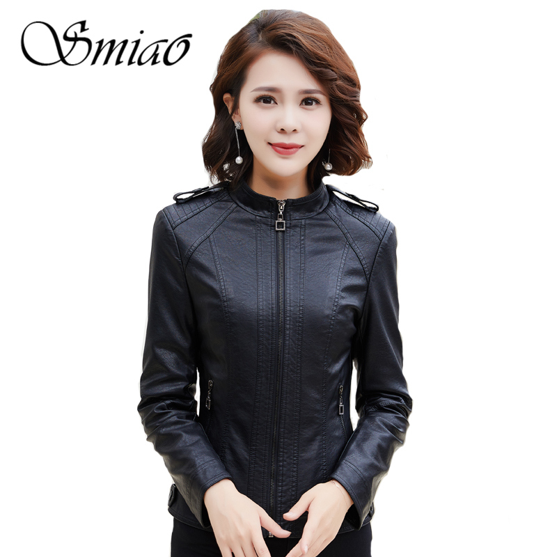 2019 New Brand Women s Leather Jacket Motorcycle Black PU Leather Jacket Short Slim Faux Leather