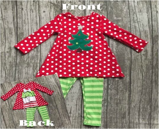 Christmas baby girls clothes Fall/winter outfits cotton boutiques tree red ruffle polka dot back striped pant match accessories купить недорого в Москве