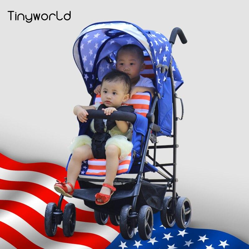 цены  Tinyworld Twin Stroller Double Pushchair baby pram Buggy Tandem Stroller With EN1888 Certification