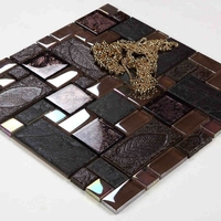 square deep color glass mixed stone mosaic tiles resin mosaic kitchen backsplash tile bathroom shower fireplace hallway tiles