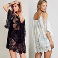 Big Plus Size Women Tops Fashion Lace Perspective Dress White Black Off Shoulder Sheer Sexy Beach Loose Dress XY1042