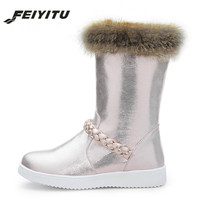 feiyitu Real Fur Snow Boots Women Flat With 2018 New Winter Silver Pink Warm Shoes Outerwear Ladies Boots Plush Inside Plus
