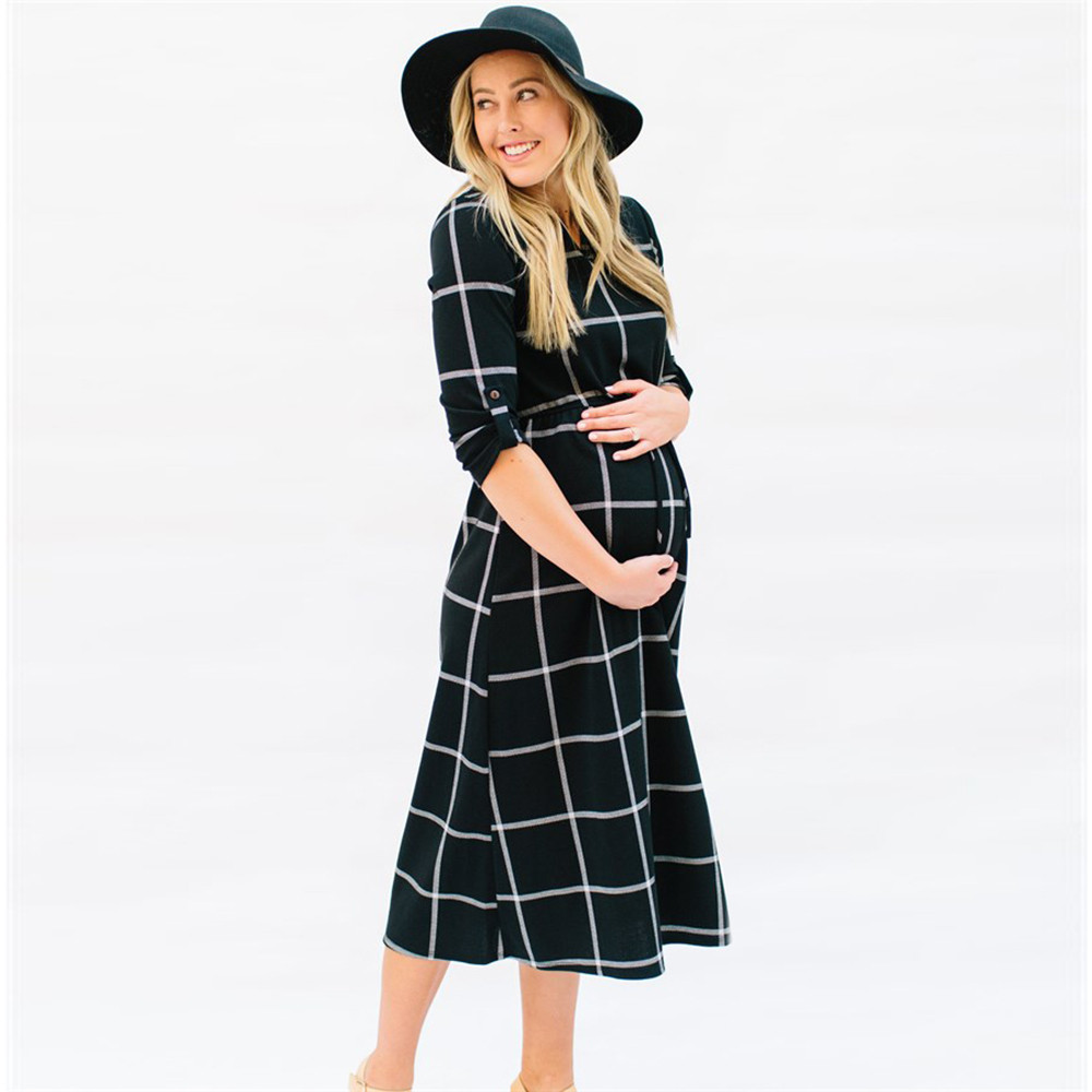 Women Pregnant Long Sleeve Dress Sexy Photography Props Casual Nursing Boho Chic Tie Long Dress Vetement Femme 2017 #Fo4