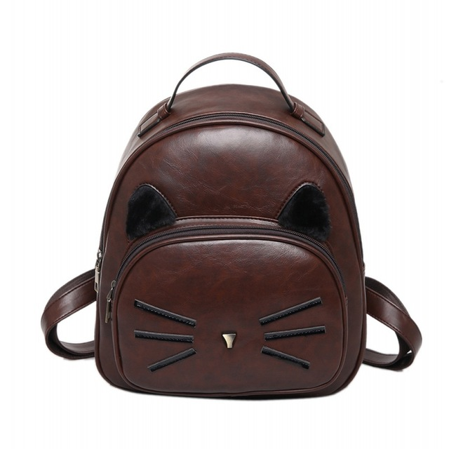 6fe11cdd7c01 Lovely Cat Ear Women Backpack Preppy Style School Bags For Teenager Girls  Leather Satchel Bag Casual Rucksack Mochilas wholesale
