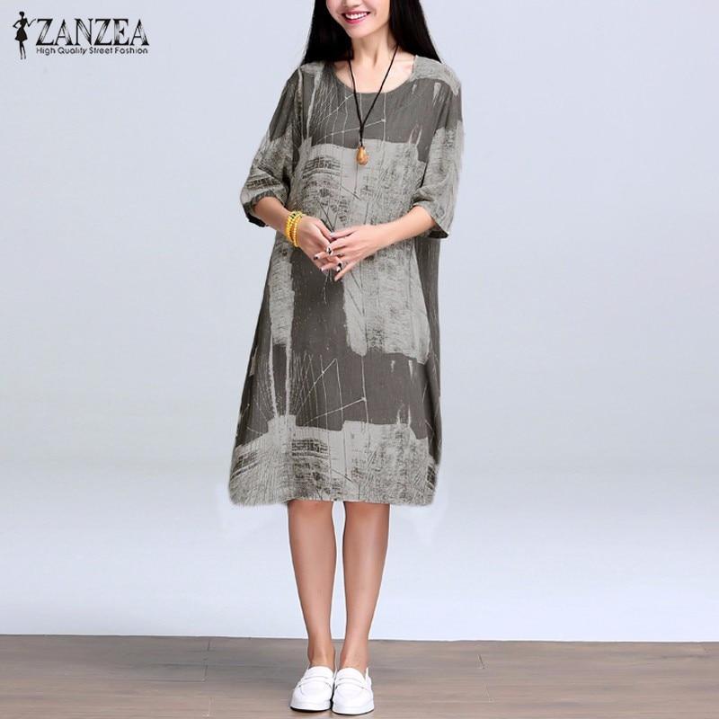 2017 zanzea verano vestidos mujeres print vintage cotton linen dress flojo ocasi