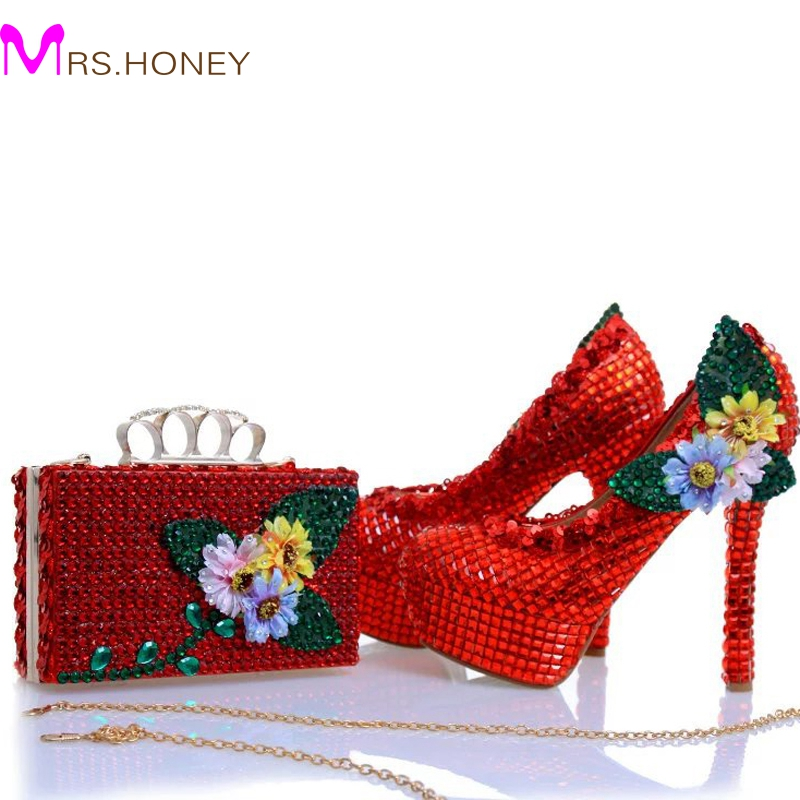 2017 New Design Red Rhinestone Heels with Matching Bag Appliques and Crystal Wedding Bridal Shoes Party Prom Pumps with Clutch