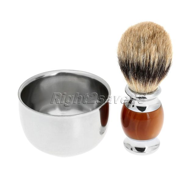 New High Quality Pure Badger Shaving Brush Resin Handle Barber Salon Men Facial Beard Brush Pincel + Shaving Bowl Shave Tool