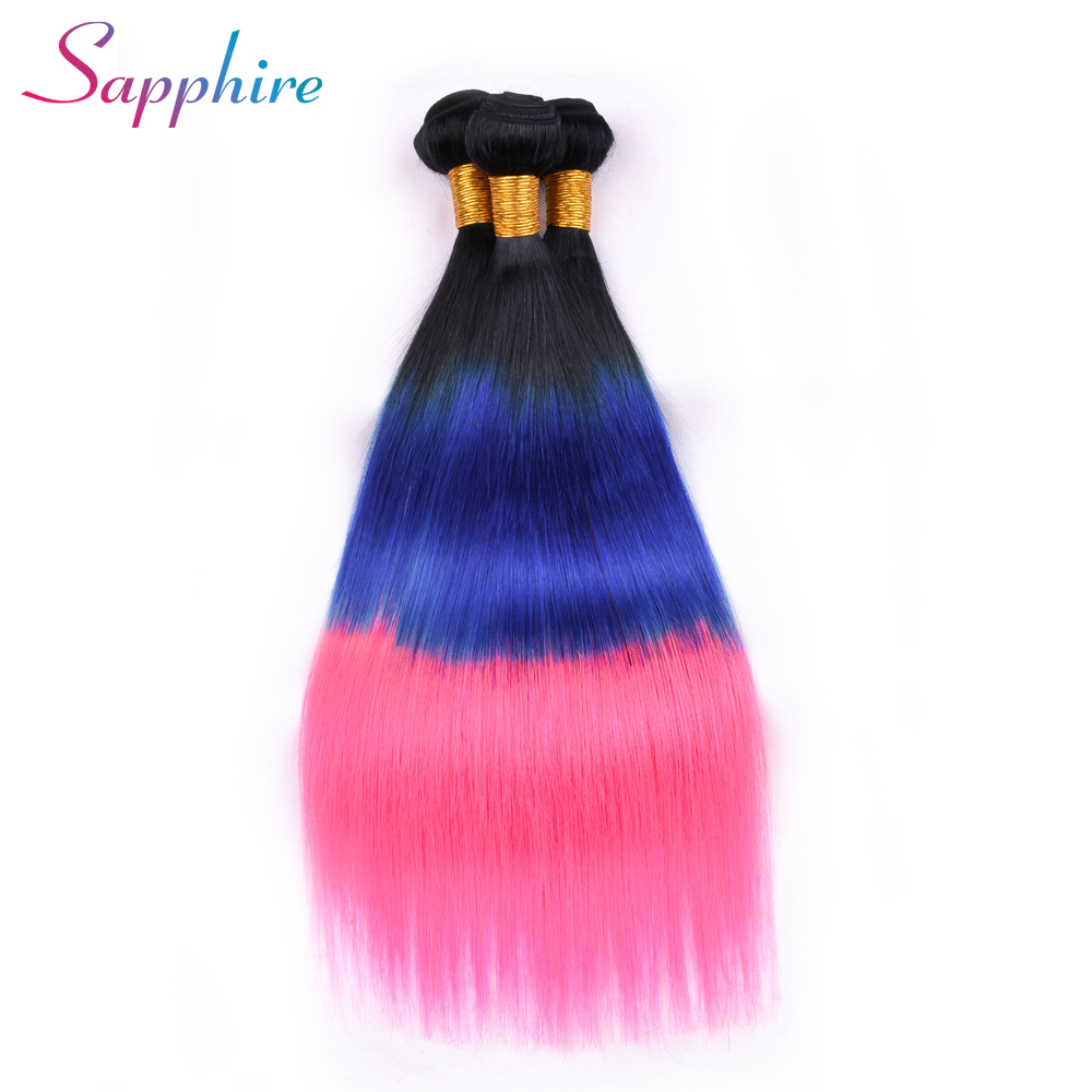 SAPPHIRE Malaysia Straight Hair Weave 100% Human Hair Bundles Dark Roots TB/Blue/Pink Color 4 Bundles Remy Hair Double Weft