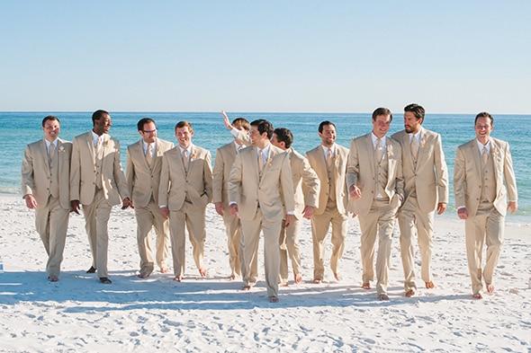 Beach Wedding Attire For Men | Latest Coat Pant Designs Beige Linen Casual Groomsmen Suit Slim Fit