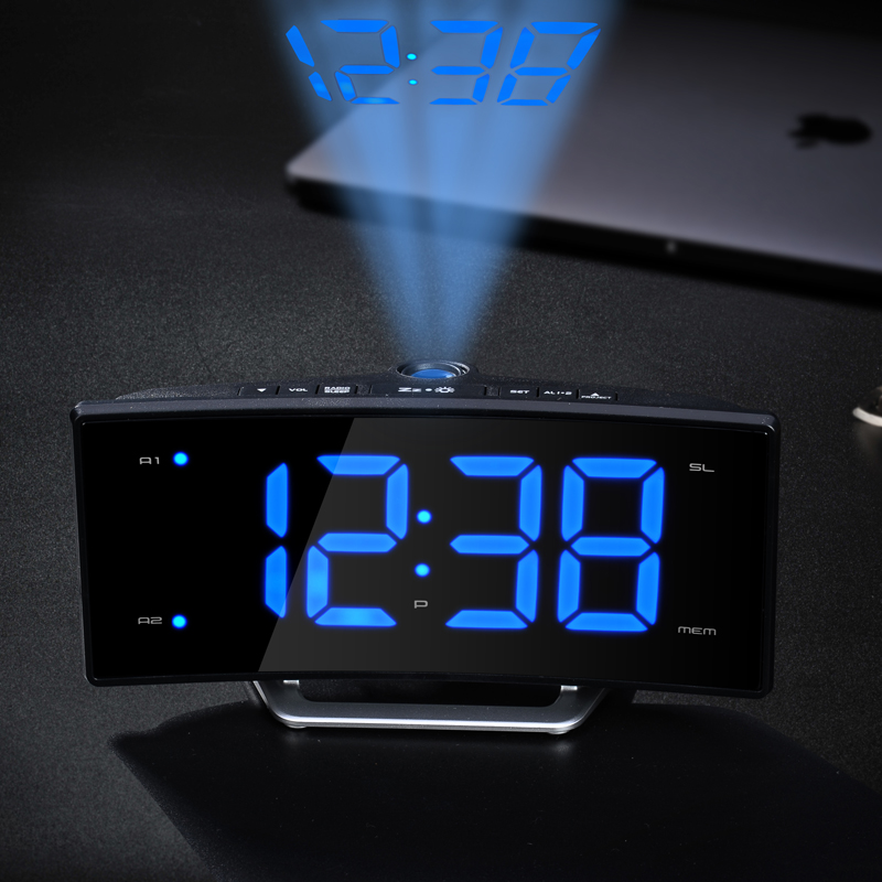 Captivating Arc Led Projection Alarm Clock Modern Decoration Desktop Clock With Radio  Student Bedside Snooze Alarm Clock Adjust Brightness In Alarm Clocks From  Home ...