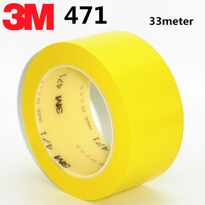 3M 471 tape yellow flooring positioning logo warning tape PVC waterproof high temperature 33M 6S positioning tape 100x tile positioning tool base cap flooring horizontal system construction yellow
