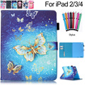 For iPad 4 Case Cartoon Cute Pattern PU Leather Flip Wallet with Cards Slots Smart Cover for Apple iPad 2 3 4