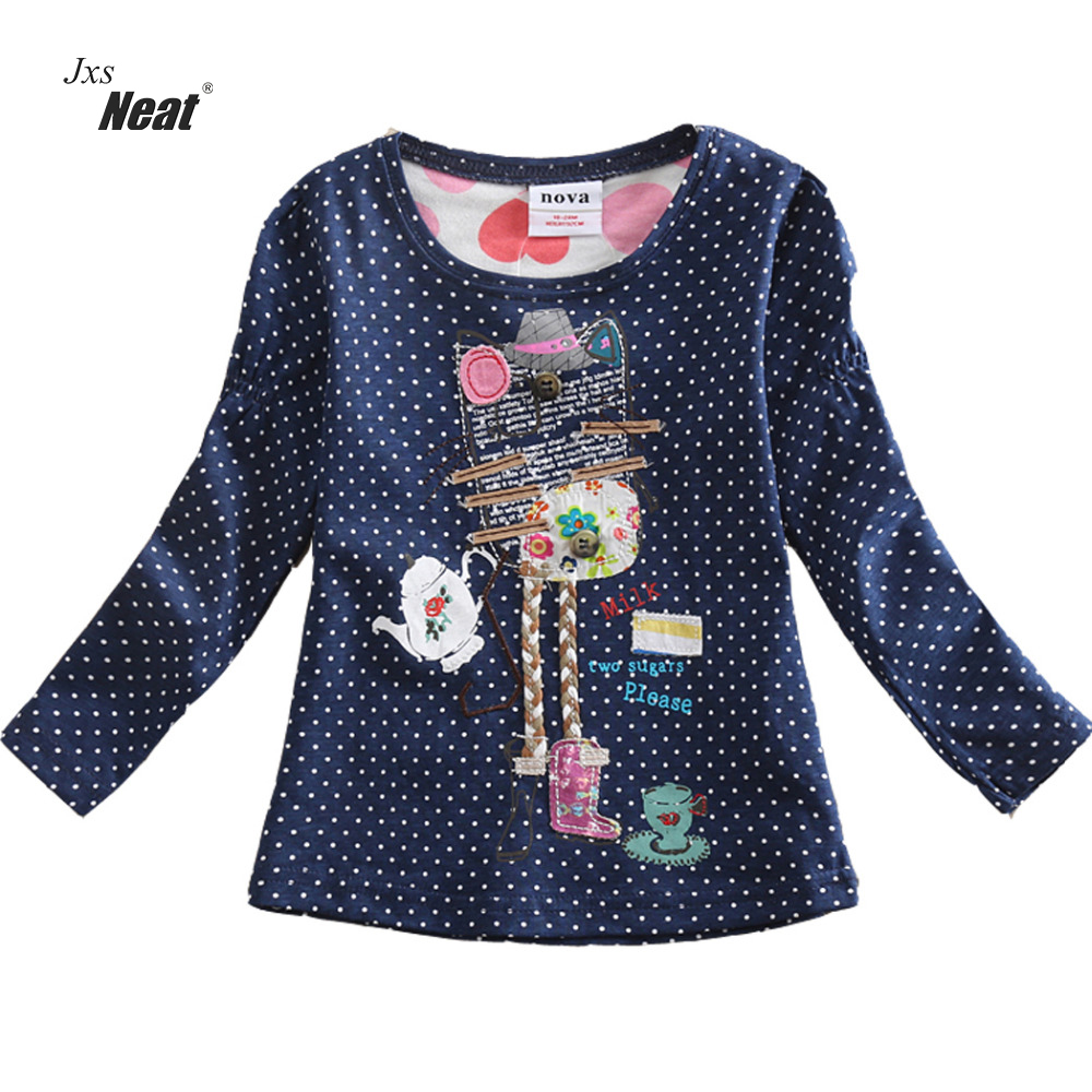 Girl clothes neat Nova o-neck cotton child clothes fashion dot print embroidery cartoon pattern girl long sleeve t-shirt F2101
