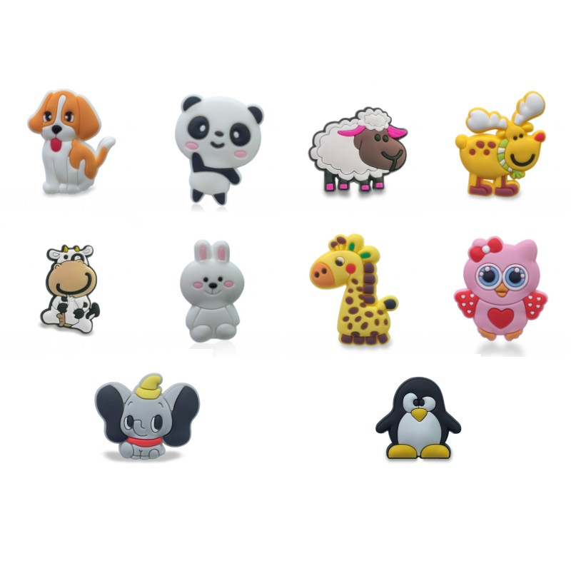 50pcs/lot Cute Animals Shoe Charms Elk Cow Owl Rabbit Panda Dog Shoes Accessories Buckles For Wristbands Kids Party Gift