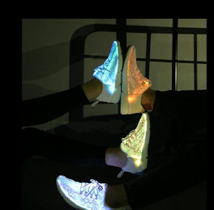 mulheres dos homens usb recarga brilhante tênis homem iluminar acima sapatos