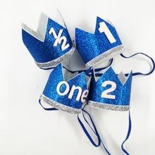 1 шт., синие, серебристые, вечерние головные уборы с короной на день рождения для мальчиков, для детей, на один год, корона принцессы ободок, для малышей, на первый день рождения, вечерние украшения, поставка