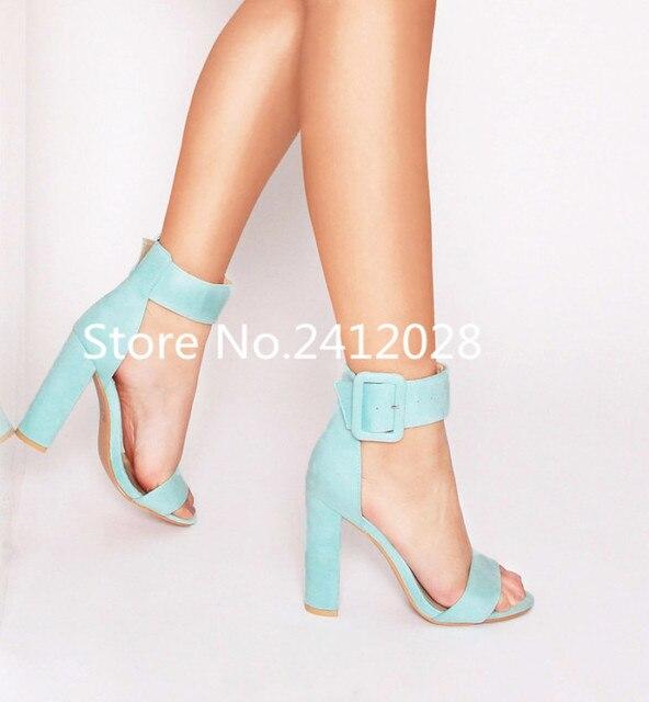 944c6c05ee0 2018 Spring Summer Pink Mint Green Nude Suede Women Pumps Buckle Strap Block  Heels Women Shoes Peep Toe High Heels Women Sandals