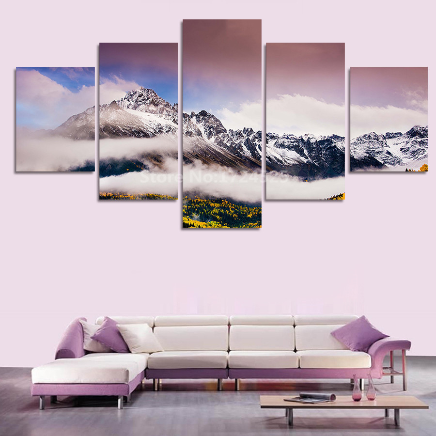 5 pcs large canvas print wall pictures for living room for Country living customer service number