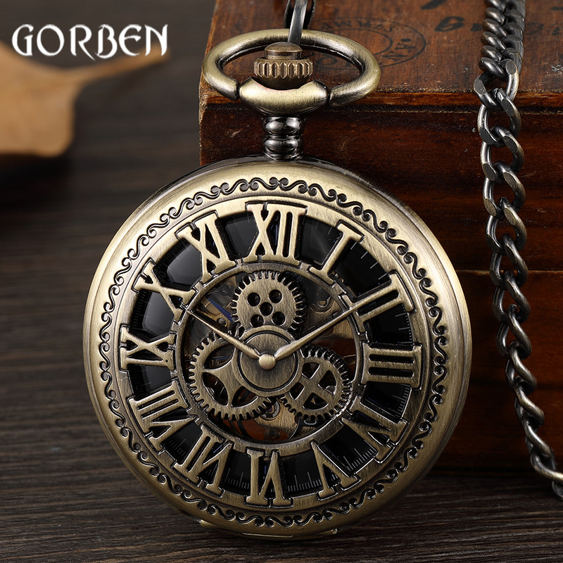 Retro Bronze Steampunk Gear Hand Wind Mechanical Pocket Watches Skeleton Hollow Hand Fob Chain Watches Men Roman Numberals Clock new retro vintage pocket fob watches waist chain skeleton mechanical pocket watch hand wind for father s day mens gifts page 4