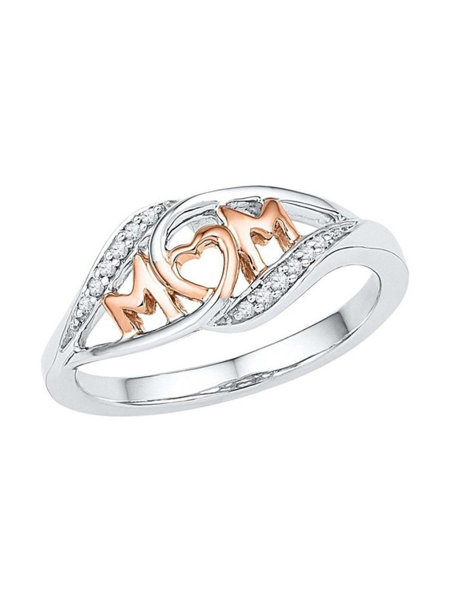 Romantic Gift Rose Gold Color Love Mom Heart-shaped Rings For Mom Jewelry Accessary