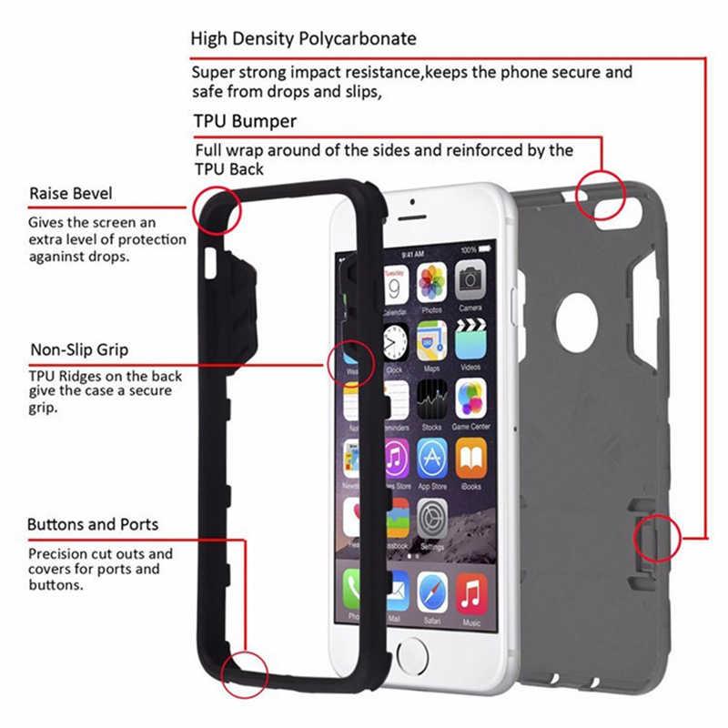 Funda de lujo para teléfono con soporte de armadura para iphone 7 8 6 6 S Plus híbrido TPU + PC duro a prueba de golpes cubierta para iphone X XR XS max caso