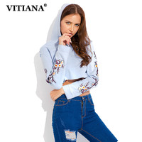 VITIANA Women Casual Hoodies Sweatshirt Autumn Long Sleeve Embroidery Floral Short Pullover Tops Female Elegant Sexy