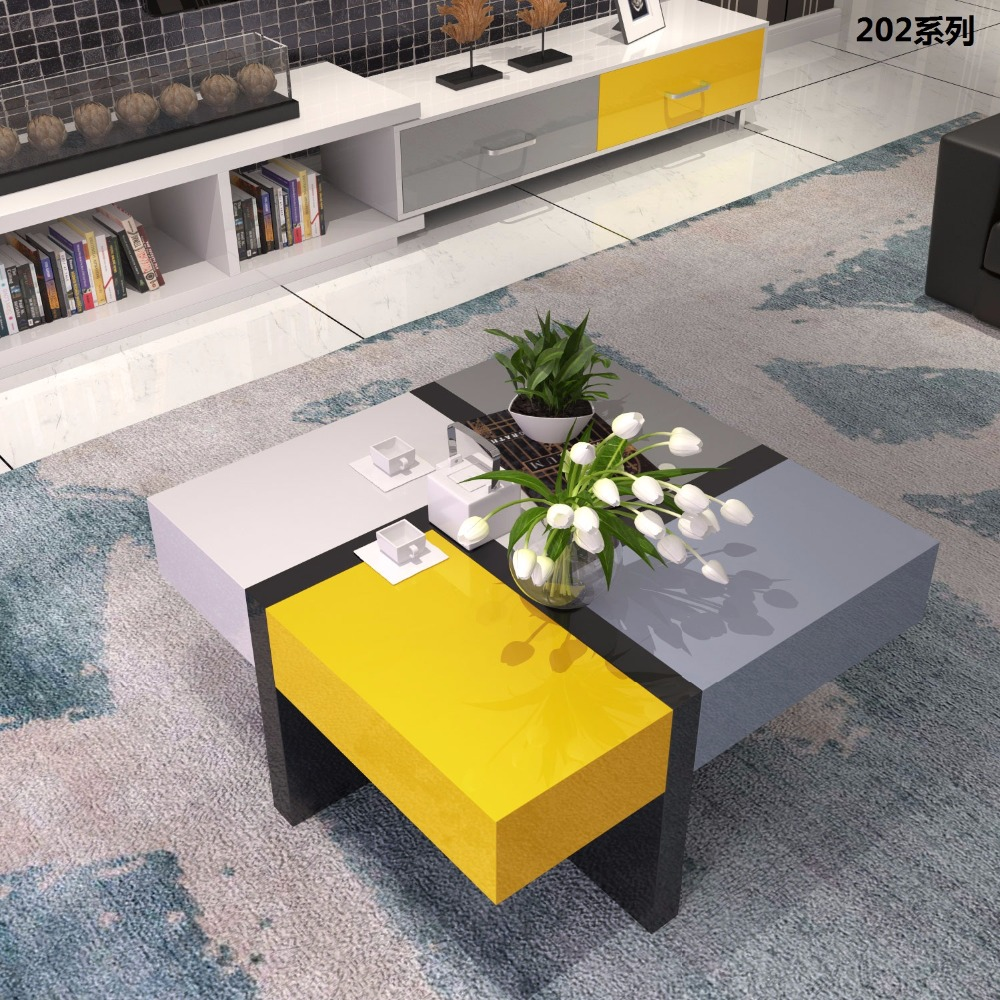 0511CJ202 colorful piano paint high gross living room furniture Flexible with storage coffee tea table цена