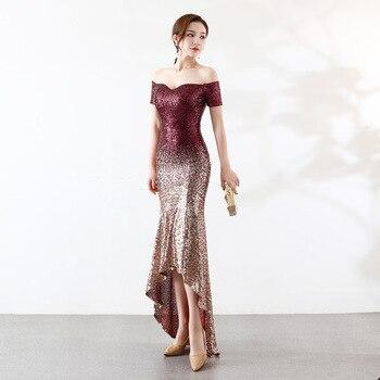 Evening Dress Long Erosebridal Deep V Neck Mermaid Party Gowns Women Wear Sweep Train Vestido De Noche